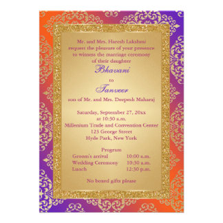 Purple Orange Gold FAUX Glitter Wedding Invite