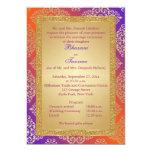 """Purple, Orange, Gold FAUX Glitter Wedding Invite 5"""" X 7"""" Invitation Card"""