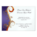 Purple Orange & Gold Ornate Swirls Invitation