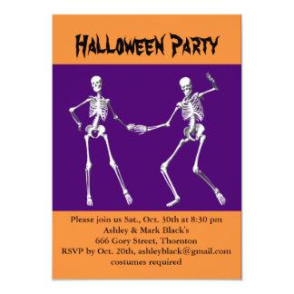 Purple & Orange Halloween Skeletons Costume Party 5x7 Paper Invitation Card
