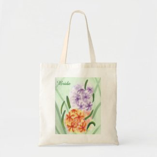 Purple Orange Hyacinth Flowers Monogram Bride Bags