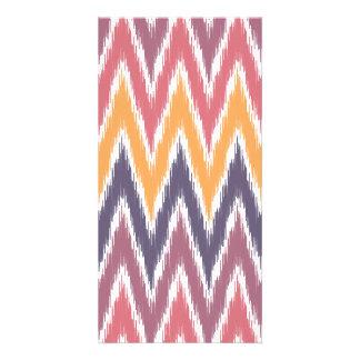 Purple Orange Ikat Chevron Zig Zag Stripes Pattern Card