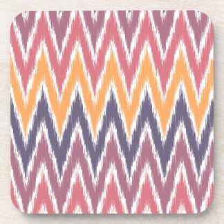 Purple Orange Ikat Chevron Zig Zag Stripes Pattern Drink Coaster