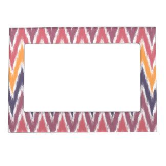Purple Orange Ikat Chevron Zig Zag Stripes Pattern Magnetic Frame