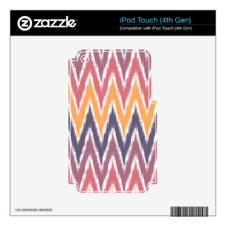 Purple Orange Ikat Chevron Zig Zag Stripes Pattern Skin For iPod Touch 4G