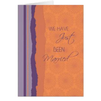 Purple Orange Just Married Announcement Card