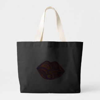 Purple Orange Lip Shopping Tote Canvas Bags