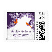 purple, orange lovebirds postage