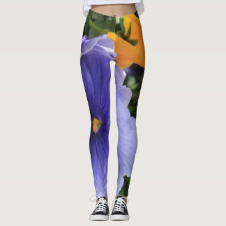 Purple & Orange Pansies w Green Floral Photo 06 Leggings