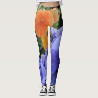 Purple & Orange Pansies w/ Green Floral Photo, 10 Leggings