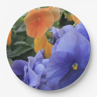 Purple & Orange Pansies w/ Green Floral Photo 4810 Paper Plate