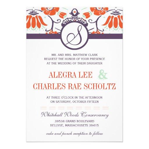 Purple Orange Persimmon and Mint Paisley Wedding Invites | Zazzle