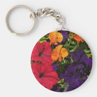 Purple Orange Petunias Keychain