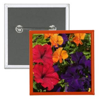 Purple Orange Petunias Pinback Button
