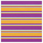 [ Thumbnail: Purple, Orange & Powder Blue Colored Stripes Fabric ]