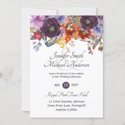Purple Orange Roses Plum Floral Wedding Invitation