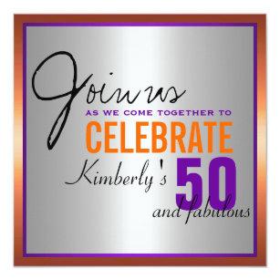 orange 50th birthday invitations zazzle