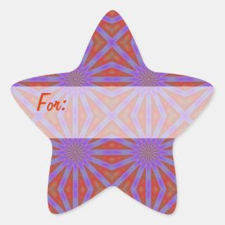 Purple & Orange Stars Gift Tag Star Sticker
