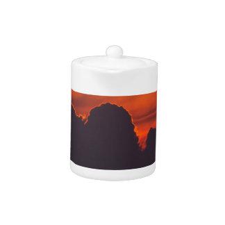 Purple orange sunset clouds teapot