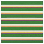 [ Thumbnail: Purple, Orange, Tan, White, and Dark Green Lines Fabric ]