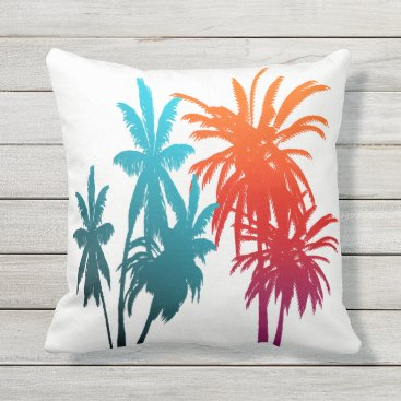 Beach Themed Purple Orange Teal Aqua Fade Palm Trees Sunset Throw Pillow