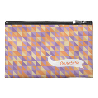 Purple Orange Triangle Pattern Zipper Name Bagette Travel Accessory Bags