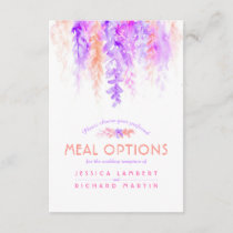 Purple orange vines flowers meal options card