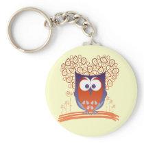 Purple Orange Whimsical Cute Owl Keychain