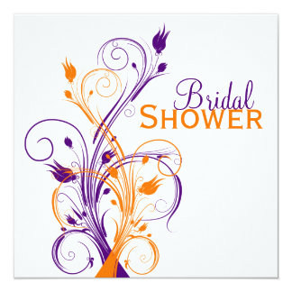 Purple Orange White Floral Bridal Shower Invite