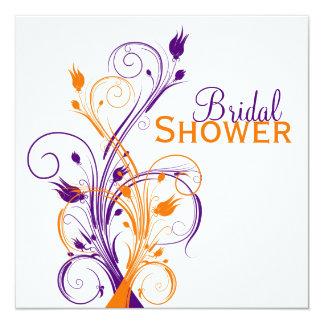 Purple Orange White Floral Bridal Shower Invite
