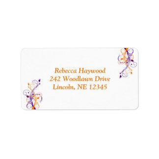 Purple Orange White Floral Return Address Label