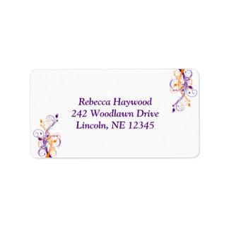 Purple Orange White Floral Return Address Label 2