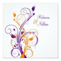 Purple Orange White Floral Sq. Wedding Invitation at Zazzle