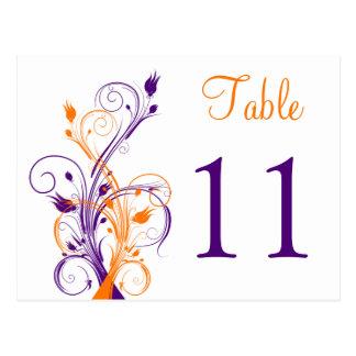 Purple Orange White Floral Table Number Postcard