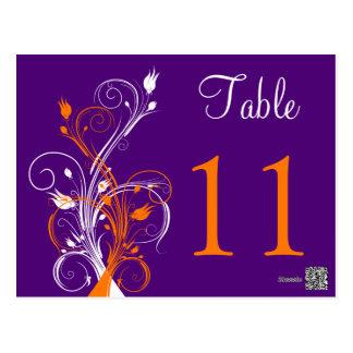 Purple Orange White Floral Table Number Postcard 2