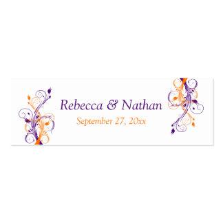 Purple Orange White Floral Wedding Favor Tag Mini Business Card