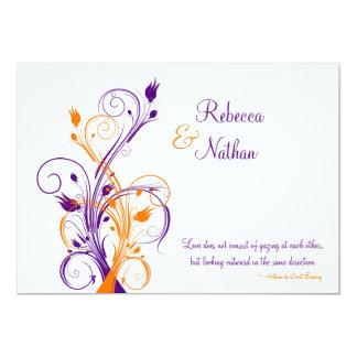 Purple, Orange, White Floral Wedding Invitation