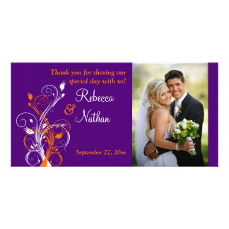 Purple, Orange, White Floral Wedding Photo Card 2