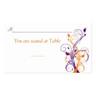 Purple Orange White Floral Wedding Place Card