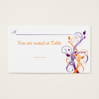 Purple Orange White Floral Wedding Place Card