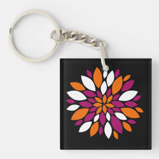 Purple Orange White Flower Petal Art on Black Keychain
