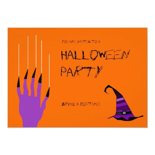 Purple Orange Witch Nail Scratch Halloween Invite