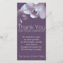 Purple Orchid 4b Sympathy Thank you Photo Card