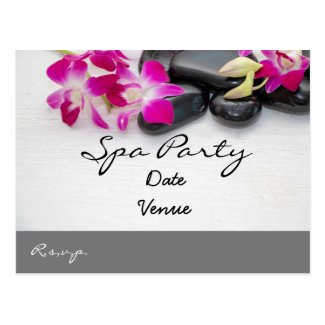Purple Orchid  and black hot stone spa party Postcard