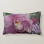 Purple Orchid and Garden Colorful Floral Lumbar Pillow