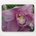 Purple Orchid and Garden Colorful Floral Mouse Pad