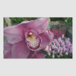 Purple Orchid and Garden Colorful Floral Rectangular Sticker