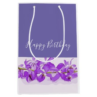 Purple orchid are on white background medium gift bag