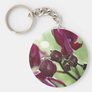 Purple orchid basic round button keychain