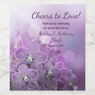 Purple Orchid Cheers to Love Wedding Wine Label